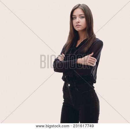 Young confident business woman. full-length portrait