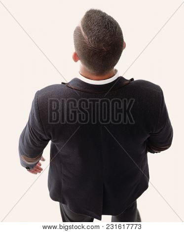 top view of successful businessman