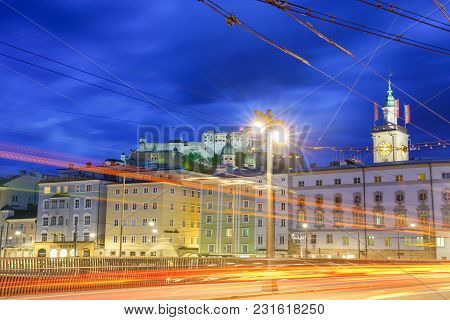 Salzburg, Austria - September 6 2017;  Horizontal Light Trails Of Moving Vehicles And Old Town Salzb