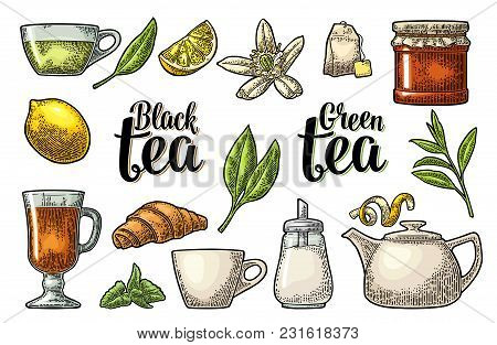 Set Tea With Lettering. Cup, Branch, Leaf, Kettle, Flower, Lemon, Croissant, Bag, Sugar Shaker. Vect