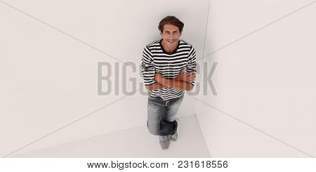 view from the top.smiling young man