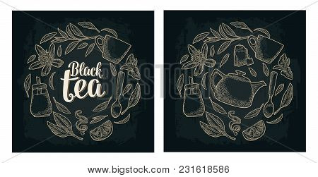 Set With Lettering Black Tea. Cup, Branch, Leaf, Spoon, Flower, Glass Sugar Shaker, Lemon, Croissant
