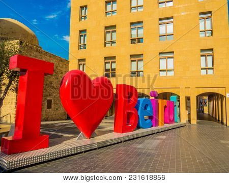 Beirut, Lebanon - May 22, 2017 - Landmark Colored Letters Sculpture