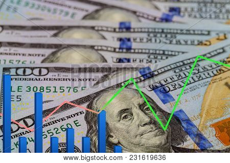 Business Trade Operations. The Graph Of The Dollar And Ruble. Interrelation Course. Business Trade O