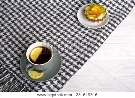 A Brisk Morning Black Tea With Lemon And Cake On A Beautiful Background