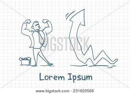 Successful Doodle Business Man With Arrow Growing Up Finance Success Concept Vector Illustration