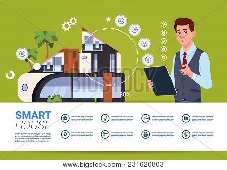 Man Holding Digital Tablet With Smart Home Control And Administration System Interface Concept Flat