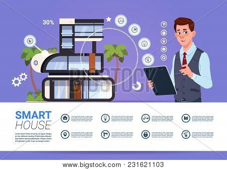 Smart Home Control Technology Concept With Man Holding Digital Tablet Flat Vector Illustration