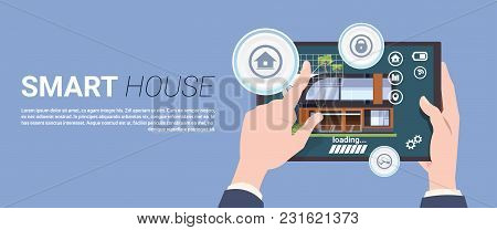 Template Banner Modern Smart Home Technology Concept, Home System Of Control Security And Automation