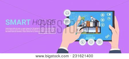 Hand Holding Digital Tablet With Smart Home Control And Administration System Interface Concept Temp
