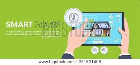 Modern Smart Home Technology Concept, Home System Of Control Security And Automation Vector Illustra
