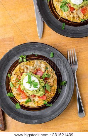 Tostada Stack Meal From Above.