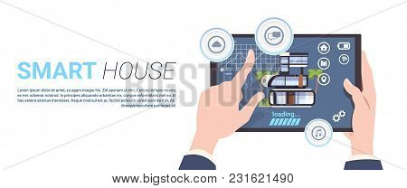 Smart Home Control Technology Concept With Hands Holding Digital Tablet Over Template Background Fla