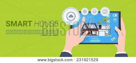 Smart Home Automation And Control Technology Concept With Hands Holding Digital Tablet Over Backgrou
