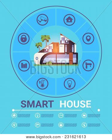 Template Infographic Modern Smart Home Technology Concept, Home System Of Control Security And Autom