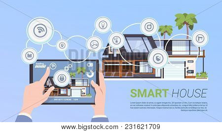 Smart Home Automation And Control Technology Concept With Hands Holding Digital Tablet Flat Vector I