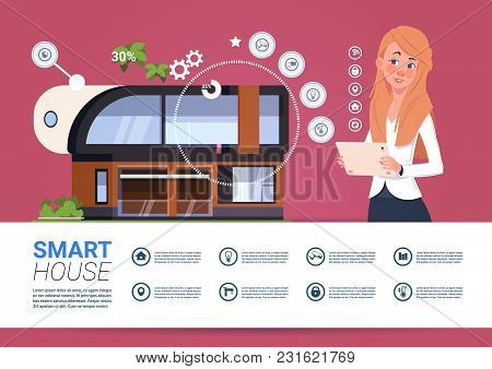 Smart Home Technology Banner With Womam Holding Digital Tablet Device With Control System Flat Vecto