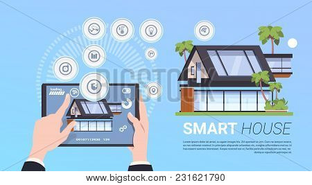 Smart Home Administration And Control Technology System Concept With Hands Holding Digital Tablet Fl