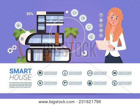 Smart Home Technology Banner With Woman Holding Digital Tablet Device With Control System Flat Vecto