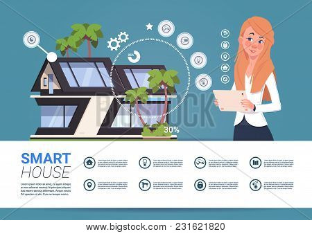 Smart Home Control Technology Concept With Woman Holding Digital Tablet Flat Vector Illustration