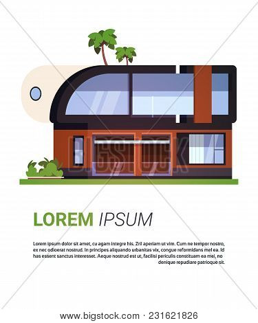Modern House Villa Or Cottage Real Estate Home Building Isolated On Background With Copy Space Flat
