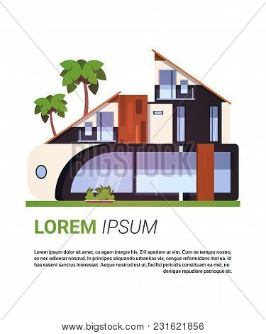 Modern House Cottage Building Luxury Real Estate Design Isolated On Template Background Flat Vector