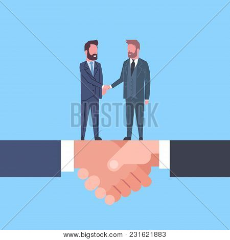 Two Businessmen Shaking Hands On Handshake Business Agreement And Partnership Concept Flat Vector Il