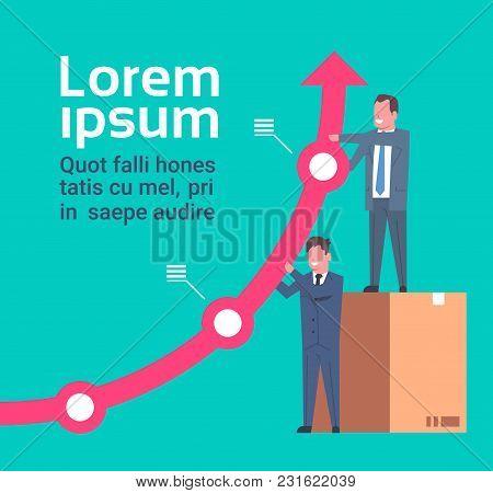 Successful Businessmen Hold Growing Financial Arrow Success And Teamwork Concept Flat Vector Illustr