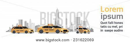 Three Yellow Taxi Car Cabs Over Silhouette City Background With Copy Space Horizontal Banner Flat Ve
