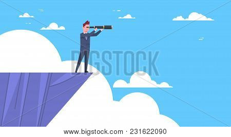 Businessman Stand On Top Of Mountain With Telescope Looking For Success, Opportunities, Business Vis