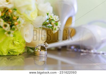 Wedding Rings And High Heel Sandal Creative Picture