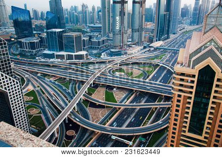 DUBAI, UAE - FEBRUARY 2018: Traffic on a busy intersection on Sheikh Zayed highway