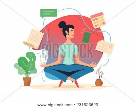 Woman Balancing In Lotus Position. Tranquility And Organization Task. Vector Illustration