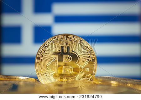 Bitcoin (new virtual money) and Greece Flag. Conceptual image for investors
