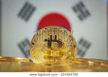 Bitcoin (new virtual money) and South Korea Flag. Conceptual image for investors
