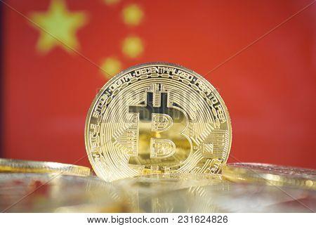 Bitcoin (new virtual money) and China Flag. Conceptual image for investors