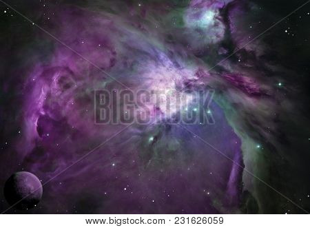 A Purple Outer Space Background, With Planets And Stars.