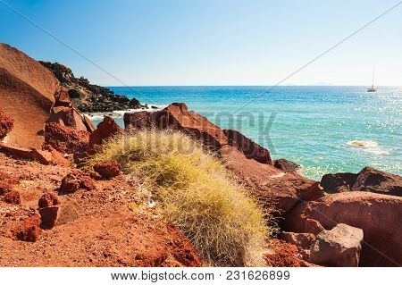 Red Beach On Santorini Island, Greece. Summer Landscape, Sea View