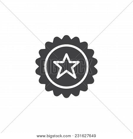 Badge With Star Shape Vector Icon. Filled Flat Sign For Mobile Concept And Web Design. Quality Certi