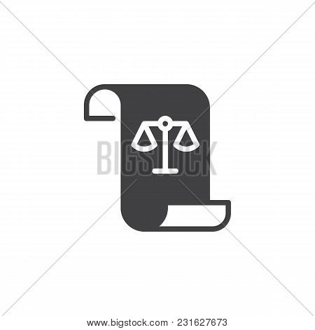 Paper Scroll With Law Balance Vector Icon. Verdict Filled Flat Sign For Mobile Concept And Web Desig