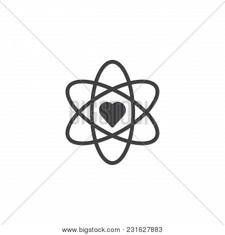 Atom And Heart Shape Vector Icon. Filled Flat Sign For Mobile Concept And Web Design. Love Science,