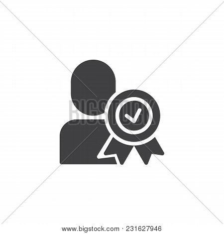 Certified Person Vector Icon. Approved User Filled Flat Sign For Mobile Concept And Web Design. Man