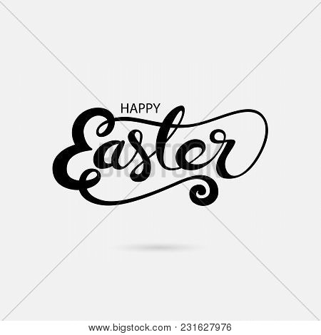 Happy Easter Hand Drawn Typographical Design Elements.design For Holiday Greeting Card And Invitatio