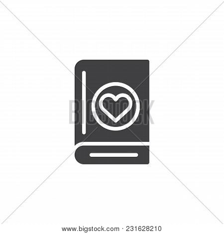 Book With Heart Vector Icon. Filled Flat Sign For Mobile Concept And Web Design. Love Novel Reading