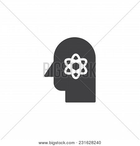 Human Head With Atom Structure Inside Vector Icon. Scientist Filled Flat Sign For Mobile Concept And