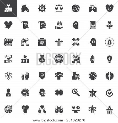 Ethics Universal Vector Icons Set, Modern Solid Symbol Collection, Filled Style Pictogram Pack. Sign