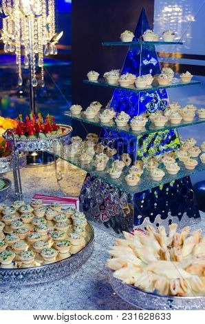 Delicacies And Snacks On The Banquet Table. On-site Restaurant. Catering