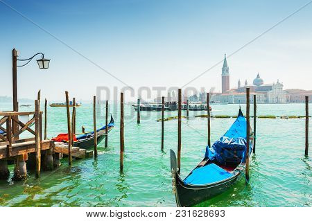 Grand Canal And Gondolas In Venice, Italy. Travel And Vacation