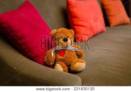 Teddy Bear Is Sitting On The Brown Sofa In The Room