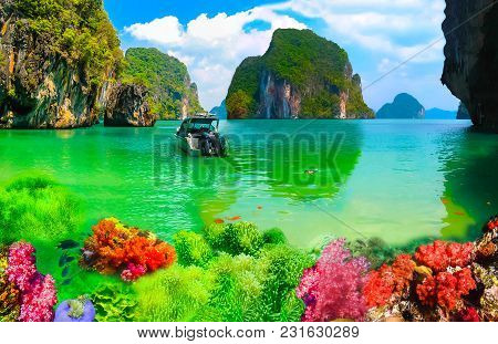Collage Of Underwater Coral Reef And Sea Surface With Green Islands On The Background. Andaman Sea I
